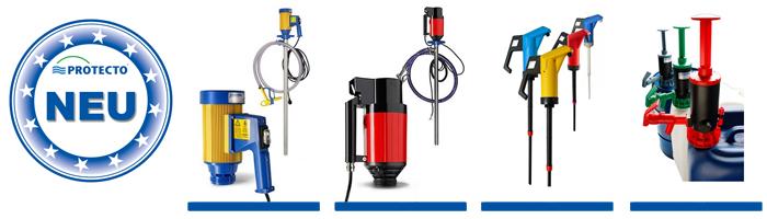 Sicheres Umfüllen aggressiver oder brennbarer Medien - neue Gefahrstoff-Pumpen im Sortiment von PROTECTO