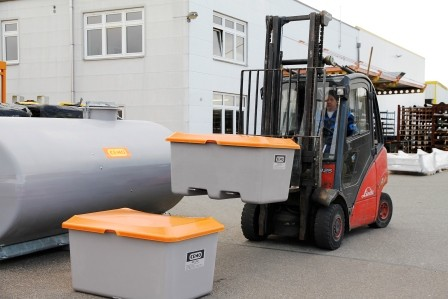 Streugutbehälter 400l Plus3 grau/orange