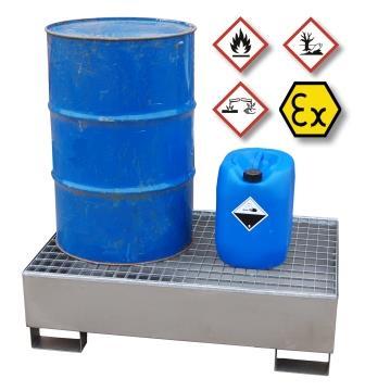Beständigkeiten erklärt: Auffangwannen aus Edelstahl – für die sichere Lagerung aggressiver und brennbarer Gefahrstoffe